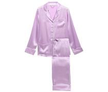 Orchid Silk-satin Pajama Set Lavender Size 1