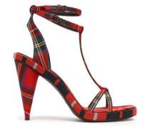 Checked Gabardine Sandals Red