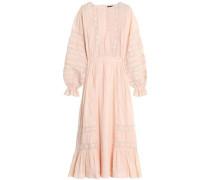 Lace-trimmed cotton midi dress