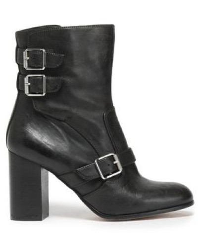 Buckled leather ankle boots