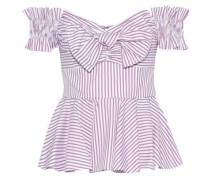 Artemis Off-the-shoulder Bow-embellished Striped Cotton Top Violet