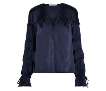 Button-embellished Shirred Satin Top Midnight Blue