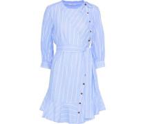 Terry-trimmed Striped Cotton-blend Mini Dress Light Blue
