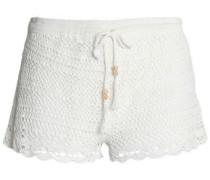 Crocheted cotton-blend shorts