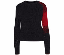 Open and cable-knit wool-blend sweater