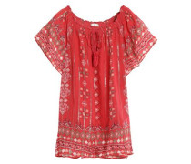 Arevig printed silk-blend voile top