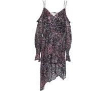 Eloma Cold-shoulder Asymmetric Printed Devoré-chiffon Mini Dress Plum