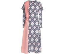 Draped printed crepe midi dress