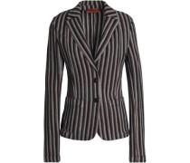Striped crochet-knit wool-blend blazer