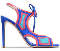Cutout Leather And Suede Sandals Bright Blue