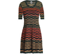 Crochet and pointelle-knit mini dress