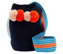 Lulu Pompom-embellished Woven Bucket Bag Midnight Blue Size --