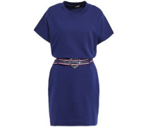 Belted French Cotton-terry Mini Dress Navy