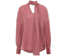 Tie-neck Bead-embellished Silk Crepe De Chine Blouse Antique Rose
