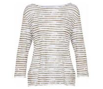 Striped Stretch-linen Top White