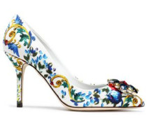 Crystal-embellished printed jacquard pumps