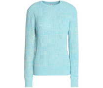 Marled ribbed-knit sweater