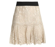 Pleated cotton-blend corded lace mini skirt