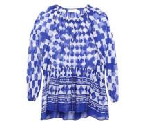 Woman Printed Silk-chiffon Blouse Bright Blue
