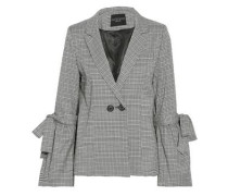 Bow-detailed checked woven blazer