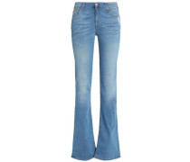 Distressed mid-rise bootcut jeans
