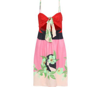 Woman Tie-front Cutout Printed Silk Dress Pink