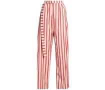 Striped woven wide-leg pants