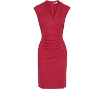 Wrap-effect Ruched Wool Dress Crimson