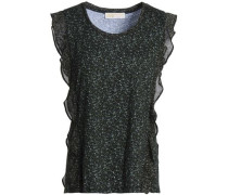 Ruffled floral-print cotton and modal-blend jersey top
