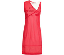 Layered Mesh And Cotton-jersey Dress Red