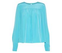 Gathered Washed-silk Blouse Turquoise