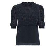 Ruffle-trimmed embroidered gauze top