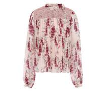 Guipure Lace-paneled Silk-chiffon Blouse Blush
