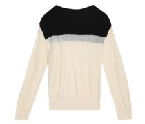 Color-block cotton and cashmere-blend sweater