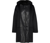 Shearling-paneled Wool And Cashmere-blend Hooded Coat Black