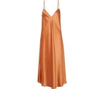 Silk-satin Midi Slip Dress Copper Size 14