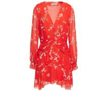 Laye Ruched Floral-print Silk-chiffon Mini Dress