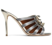 Metallic leather-trimmed satin mules