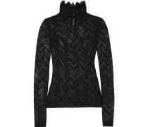 Caron Ruffle-trimmed Crochet-knit Turtleneck Top Black