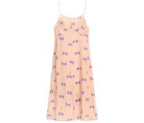 Woman Lace-trimmed Printed Silk Crepe De Chine Slip Dress Peach