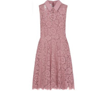 Crepe-trimmed Cotton-blend Corded Lace Mini Dress Baby Pink