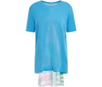 Woman Printed Crepe De Chine-paneled Knitted Top Light Blue