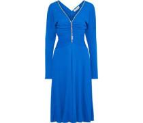 Woman Crystal-embellished Gathered Stretch-jersey Dress Royal Blue