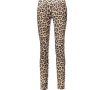 Leopard-print Stretch Cotton-blend Skinny Jeans Animal Print  4