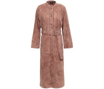 Woman Belted Suede Midi Dress Taupe