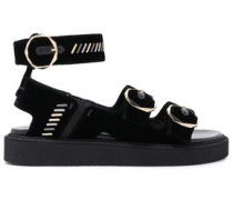 Embellished Velvet Platform Sandals Black