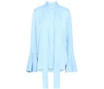 Draped Silk-blend Shirt Sky Blue
