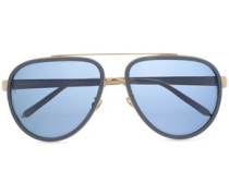 Aviator-style Acetate And Gold-tone Mirrored Sunglasses Blue Size --