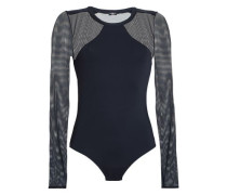 Tulle-paneled Stretch-jersey Bodysuit Black
