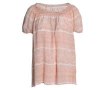 Shirred printed silk top